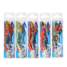 10pcs 12g-14.5g Nice Luminous Squid hook bait with laser stickers Wood Shrimp fishing Lure Octupus Cuttlefish lure hook(China)