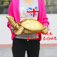50CM LARGE COMPANY SHOP HOME EFFICACIOUS MASCOT TALISMAN BRING WEALTH FORTUNE TURTLE GOLD CHINESE FENG SHUI BRASS STATUE