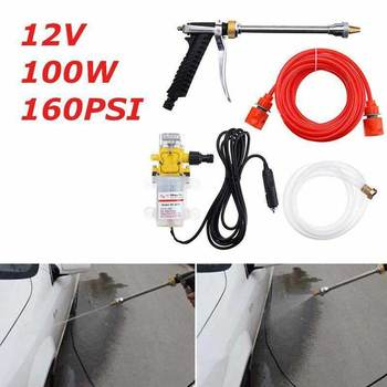 1Set DC 12V 100W 160PSI Portable High Pressure Car Electric Washer Wash Pump Set Auto washing machine Kit with Car charger image
