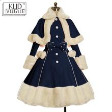 Lolita Dress Suit Women Winter Fur Collar Shawl & Bow Fitted Vintage Gothic Dress Warm Thick Cute Single-breasted Long Sleeve