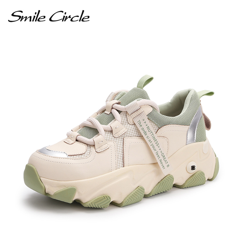 Smile Circle Spring Women Sneakers Flats Platform Shoes Patchwork Thick Bottom Fashion Round Toe Casual Ladies Sneakers