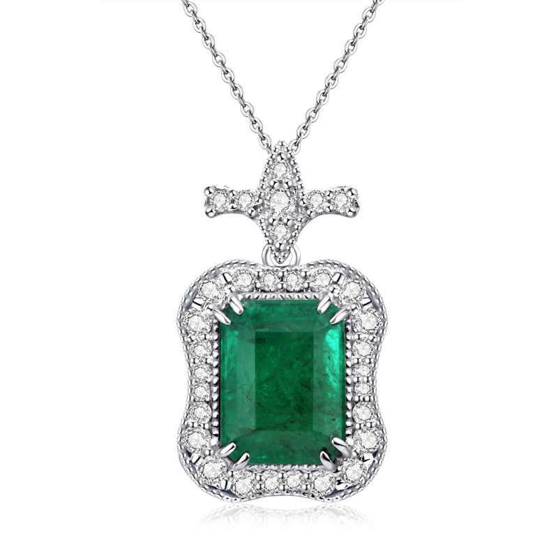 · ウォン雨ヴィンテージ 925 スターリングシルバーエメラルド宝石用原石のウェディング婚約ホワイトゴールドペンダントネックレスファインジュエリー卸売