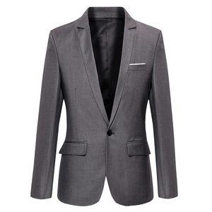 2019 S-4XL Men's Formal Slim Fit Formal One Button Suit Long Sleeve Notched Blazer Cotton Blend Coat Jacket Top