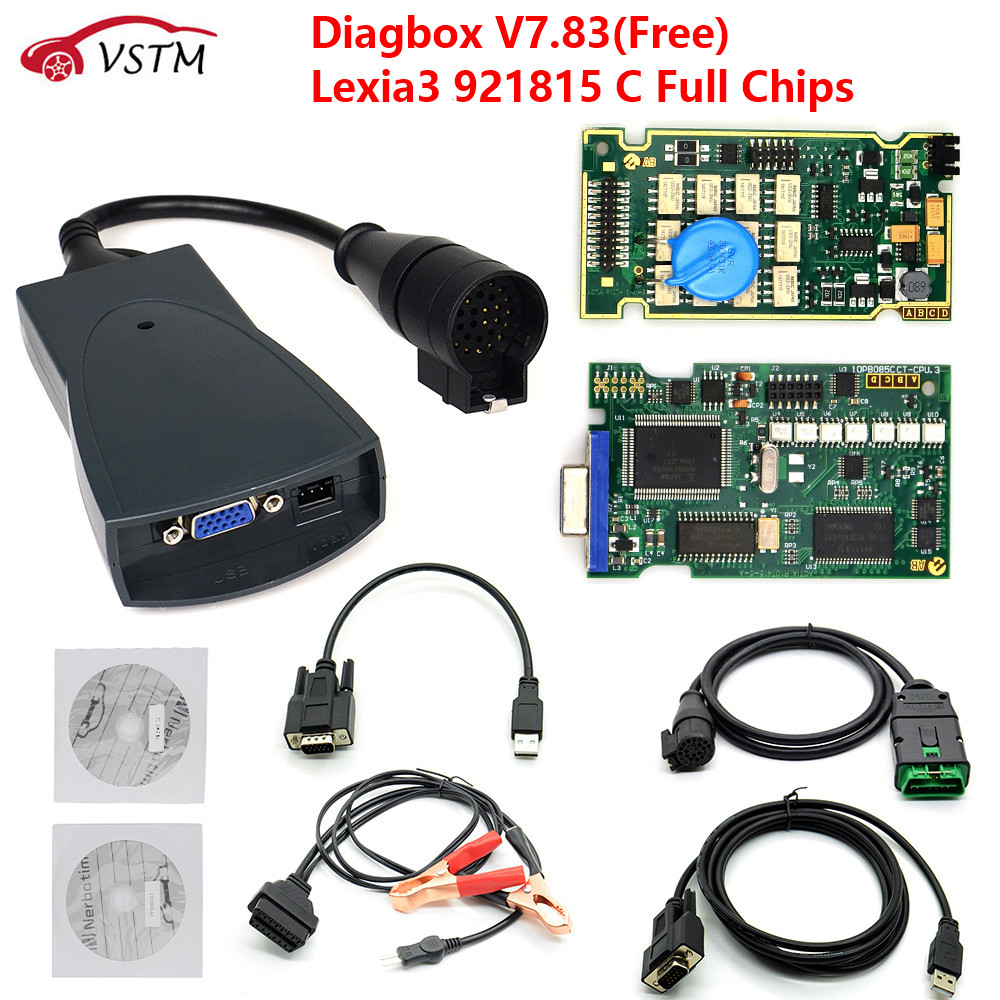 Herramienta de diagnóstico para coches Lexia 3, Chip completo, Lexia3, V48/V25, Diagbox más reciente, V7.83, PP2000, Lexia-3, Firmware 921815C