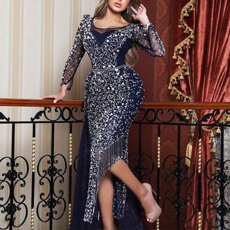 2020 Tassel Long Sleeve V-Neck Sling Sequin Long Dress Empire Fashion New Maxi Dress Africa Clothing African Dresses For Women