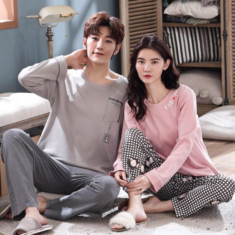Wontive Couple Pajamas Men And Women Pajamas Set Pajamas Long Sleeve Pijama Set For Male Plus Size Sleep Casual Nightie
