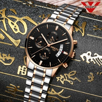 NIBOSI Fashion Mens Watches Top Brand Luxury Watches Rose Gold Waterproof Relogio Masculino Stainless Steel Quartz Wristwatch image