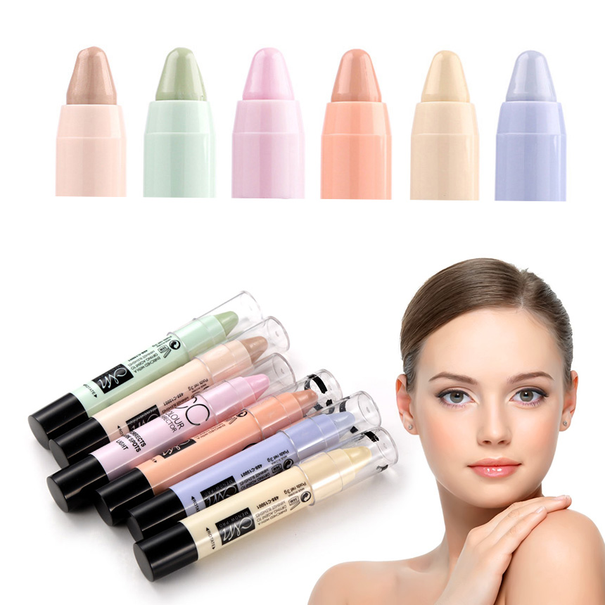 6Colors Blemish Pores Corrects Concealer Stick Highlighter Redness Circle Corrector Cream Natural Bronzer Face Contour Pen TSLM2