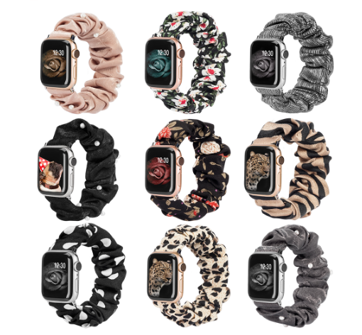 Printed Scrunchie Elastic Strap For Apple Watch Band 40mm 38mm 42mm 44mm Women For Iwatch 5/4/3/2/1 Wrtist Belt Accessories