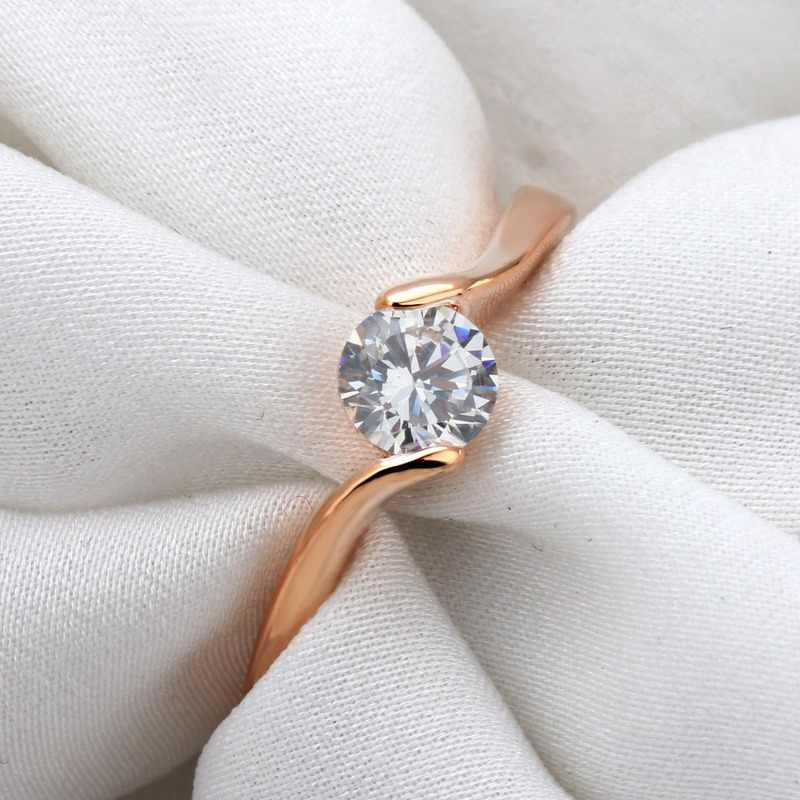 Pure 925 Sterling Silver Rings for Women Engagement Wedding Diamond Ring 14k Rose Gold Cubic Zirconia Gemstones Silver Jewelry