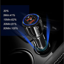 купить Car Charger Quick Charge 3.0 QC 3.0 Fast Charging Adapter Dual USB Car-Charger For iphone Micro USB Type C Cable Phone Chargers дешево