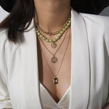 Distante estrela moda multicamadas gargantilhas colares mulheres pérola ouro metal boêmio pingentes retrato corrente colar jóias presente