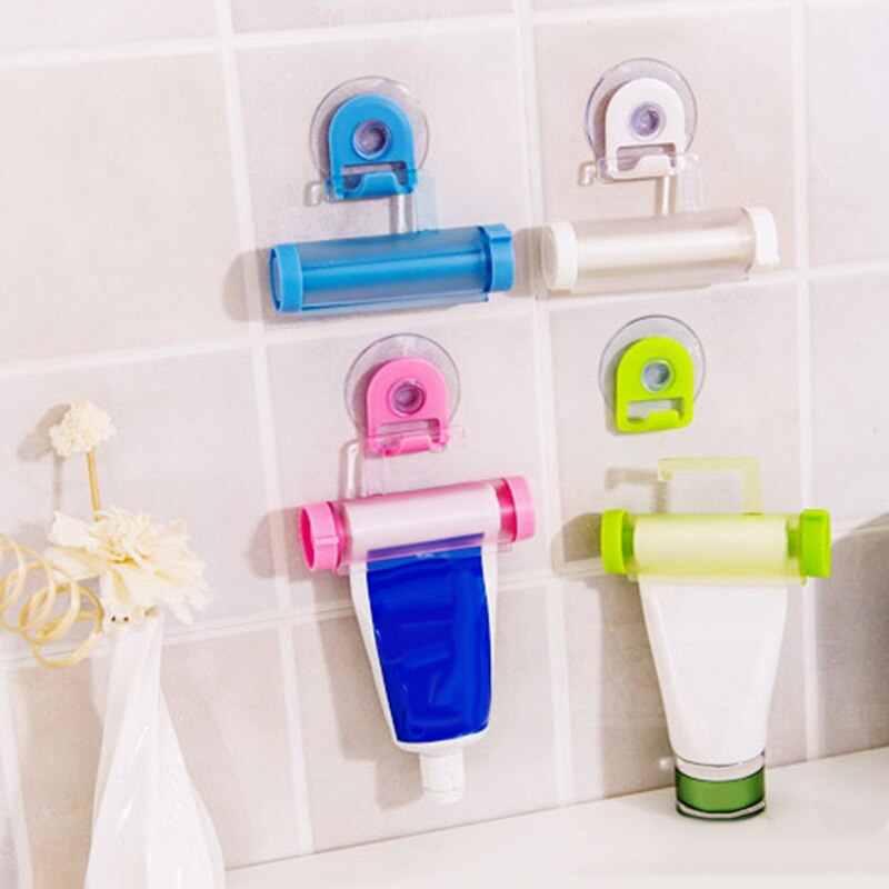 Didihou 1 pc plástico tubo de rolamento squeezer dispensador pasta dentes otário titular creme dental banheiro manual seringa arma dispenser