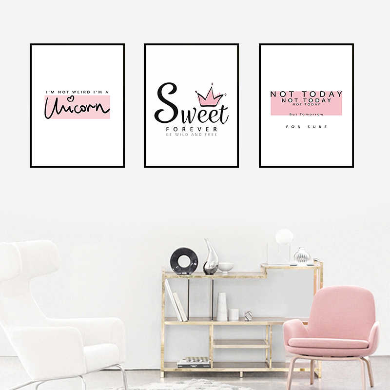 Nordic Today Sweet Poster Print Get pink Quotes Canvas Painting Modern Abstract Minimalist Art For Living kidroom Home Decoratio