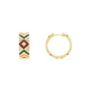 Image 1 - SLJELY Solid 925 Sterling Silver Yellow Gold Color Multicolor Zirconia Ceometric Pattern Tribel Hoop Earrings Women Mana Jewelry