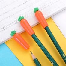 3Pcs/pack Kawaii Vegetable Carrot Shape Pen Pencil Cap Stationery Plastic Pencil Grip for Kids Gift Pencil Caps Hats
