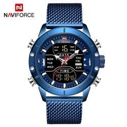 NAVIFORCE Top luksusowa marka mężczyźni zegarek człowiek wojskowy Sport zegarki kwarcowe ze stali nierdzewnej LED cyfrowy zegar Relogio Masculino na