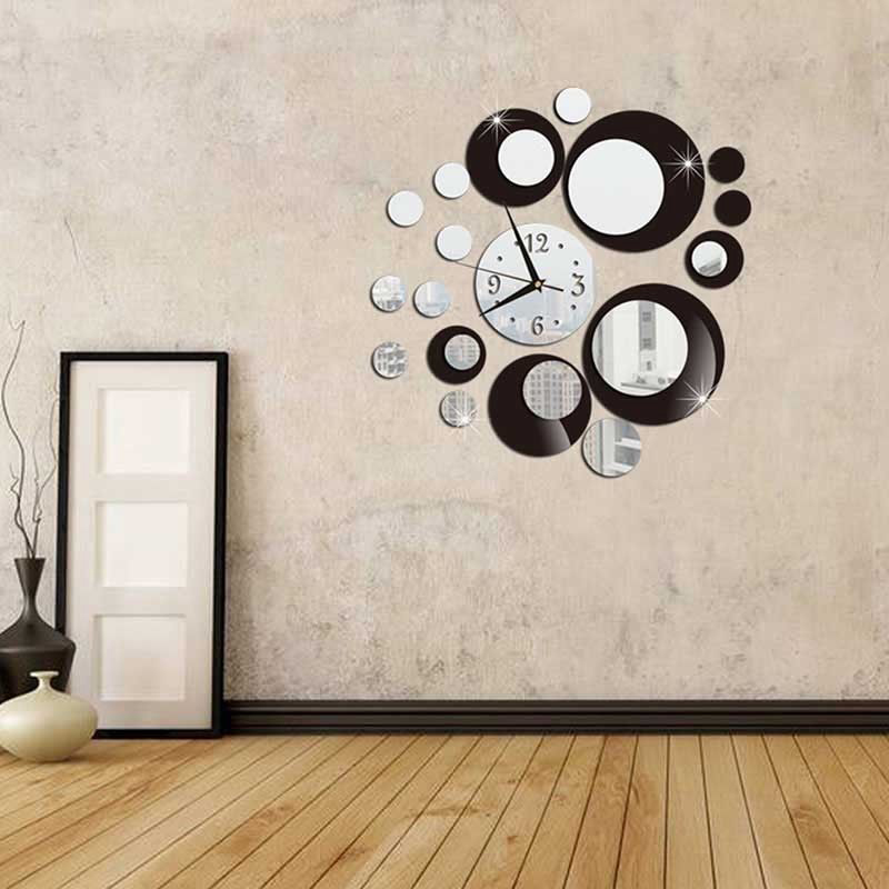 3D TEAPOT CUP ACRYLIC MIRROR WALL CLOCK STICKERS DIY HOME DECOR DECALS ORN