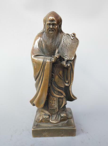 Statue de Laozi, fondateur de lhistoire taoïste en laiton pur chinois