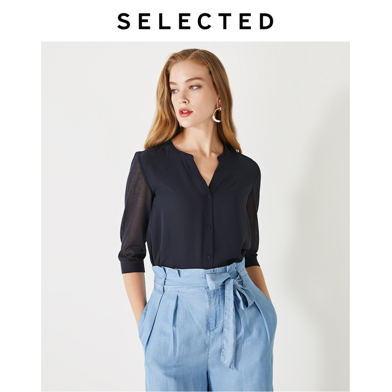 SELECTED V-neckline Knitted Elbow Sleeves Splice Buckled Shirt SIG|419305512