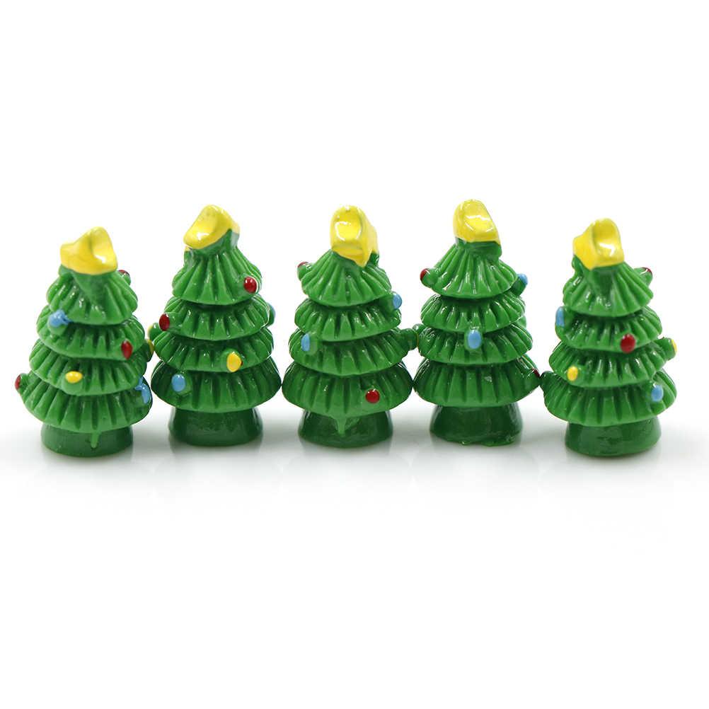 5 PCS Weihnachten Baum/Bär Niedlichen Tier DIY Harz Fee Garten Handwerk Dekoration Figuren Miniatur Micro Gnome Terrarium Geschenk
