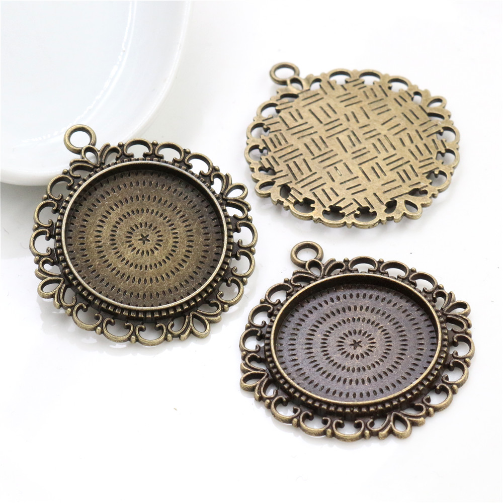 New Fashion  3pcs 25mm Inner Size Antique Bronze Pierced Style Cabochon Base Setting Charms Pendant (A3-22)
