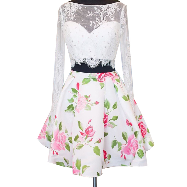 Two Pieces Long Sleeves Lace Beaded Tops Flower Pattern Skirt Prom Gown Women A-line Cocktail Homecoming Party Dresses