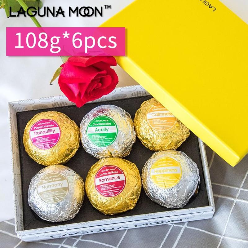 Lagunamoon 108g*6Pcs Gift Set Large Sea Lush Salt Bomb Spa Natural Organic Bath Ball Lavender Rose Jasmine Mint Lemon Fragrance