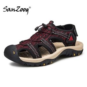 Image 1 - Summer Mesh Men Sandals Outdoor Casual Trekking Beach Slip On Closed Toe Breathable Mens Sandles Plus Size 49s