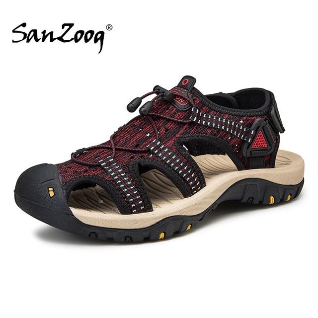 Summer Mesh Men Sandals Outdoor Casual Trekking Beach Slip On Closed Toe Breathable Mens Sandles Plus Size 49s