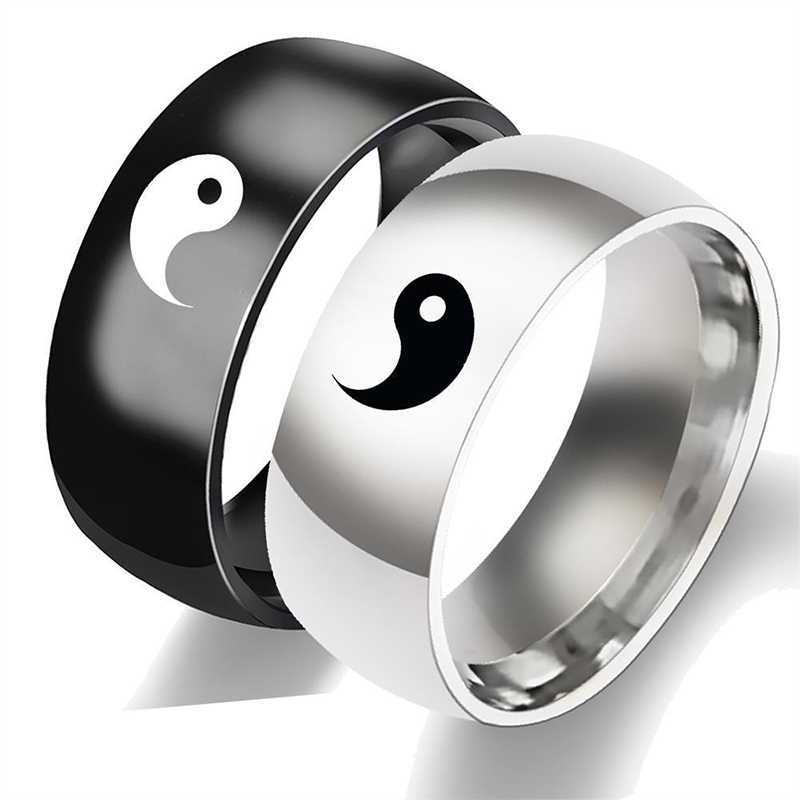 Creative Chinese Style Tai Chi Rings For Men Women Fashion Yin Yang Gossip Punk Couple Accessories Jewelry Gifts For Friends