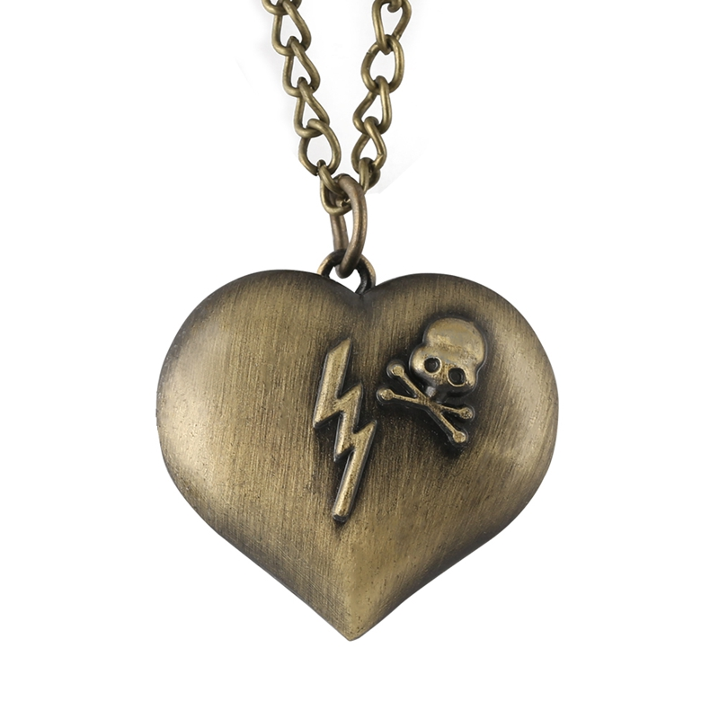 Antique Bronze Heart Shape Quartz Pocket Watch LOVE Necklace Chain Cute Round Dial Pendant Watch Valentine Gifts For Men Women