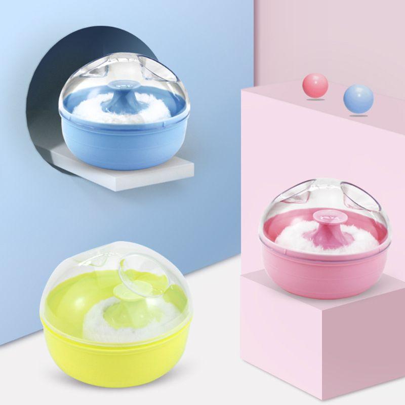 Portable Baby Soft Body Talcum Powder Puff Sponge + Box Case Container Useful Supply