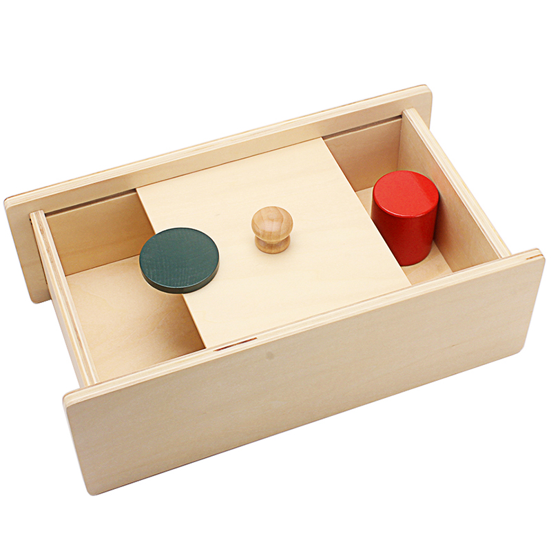 Baby Montessori Sensory Toys Wooden Box With Sliding Lid Attention Practice Game Toys For Infant Toddler Education Teaching Aids