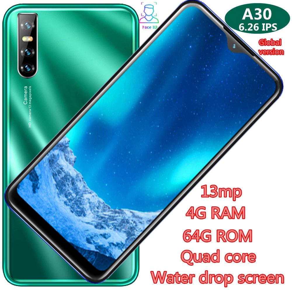 Разблокированный смартфон A30, IPS экран 6,26 дюйма, 4 Гб + 64 ГБ, 13 МП, четырехъядерный процессор, Android, WCDMA