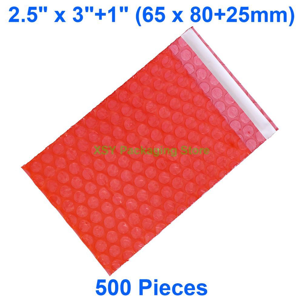 """500 штук 2,5 """"x 3"""" + 1 """"(65x80 + 25 мм) самозапечатывающийся красный антистатический пузырьковый пакет Электронная Упаковка изделия пластиковый"""