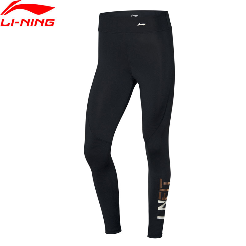 Li-Ning Women Training Layer Pants High-rise Tight Fit 80% Polyester 20% Spandex Li Ning LiNing Sports Tights AULQ014 WKY274