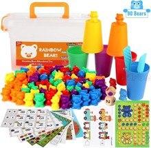 Montessori brinquedos educativos contando urso com jogo triagem copos montessori cognição arco-íris brinquedos sensoriais para crianças do bebê