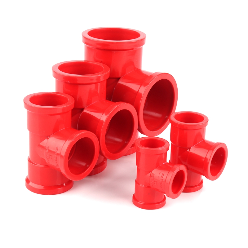 2pcs I.D20~50mm Red UPVC Pipe Connectors PVC Pipe Tee Connector Aquarium Fish Tank Pipe Fittings Drain Pipe Water Tube Adapters image