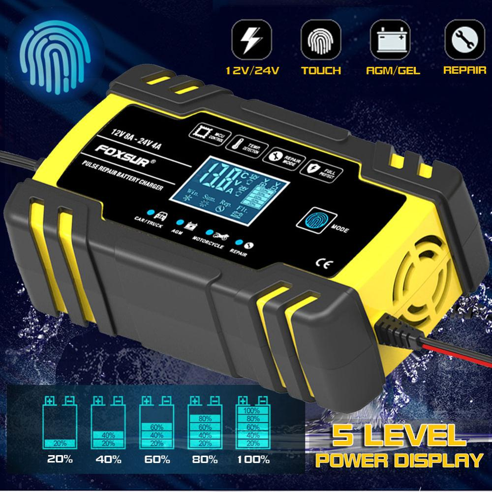 12V-24V 8A AGM/GEL Full Automatic Car Charger Power Pulse Repair Chargers Wet Dry Lead Acid Battery-chargers Digital LCD Display
