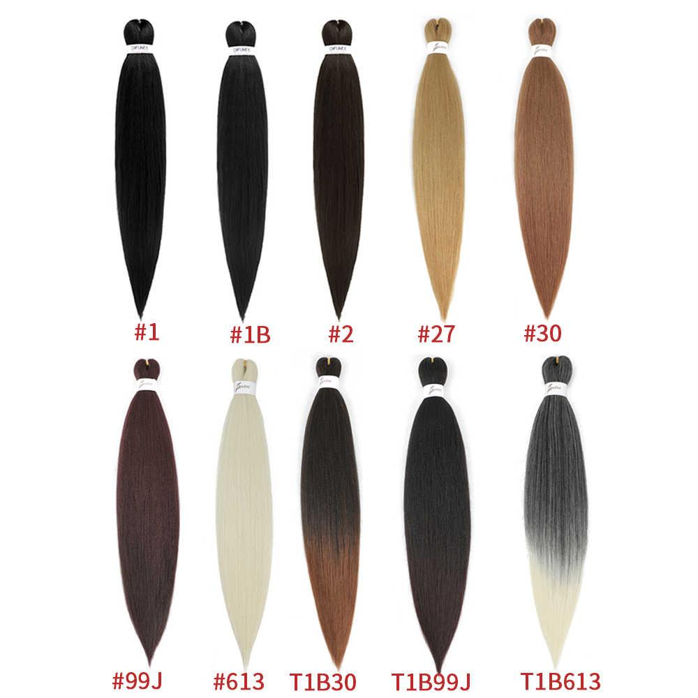 Warkocz z włosów Ombre Extensions łatwy warkocz Yaki prosto SOKU wstępnie rozciągnięty syntetyczny Jumbo Box warkocze włosy