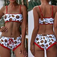 Bikini Bikinis 2020 para Mujer, traje de baño separado, traje de baño para Mujer, ropa de playa de cintura alta, Push Up, traje de baño con tiras para Mujer