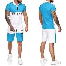Camisa do esporte dos homens do esporte + shorts ajustados jordan-23 de alta qualidade treino dos homens camiseta esportes correndo conjunto 2021 verão novo