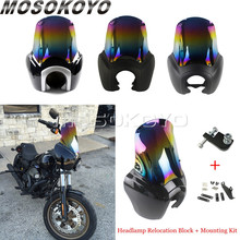 Motorcycle Adjustable tSport Headlight Fairing w/ Iridium Windshield Mounting Kit For Harley Dyna Super Glide Street Bob FXD/FXR