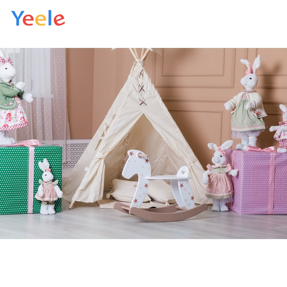 Baby Room Gift Bunny Tent Rocking Horse Baby Child Portrait Photo Backdrop Newborn Photographic Backgrounds For Photo Studio