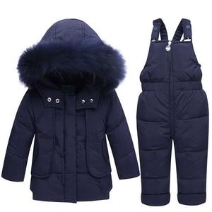 Image 5 - 冬の子供服セット雪のスーツジャケット + ジャンプスーツ2本セットベビー少年少女アヒルダウンコート幼児ガール冬服
