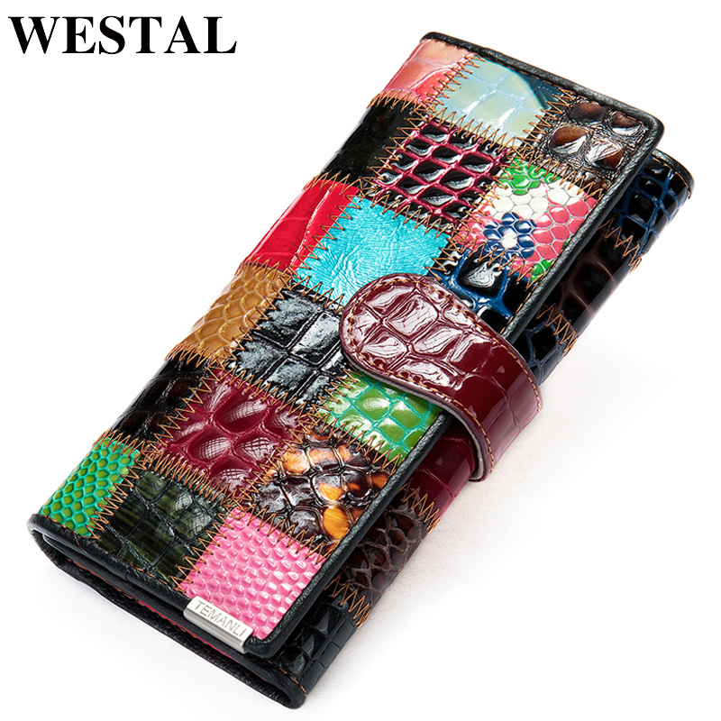 WESTAL Women's Wallet Genuine Leather Patchwork Wallet For Women Zipper Ladies Clutch Bags With Cellphone Holder Wallet Long 413