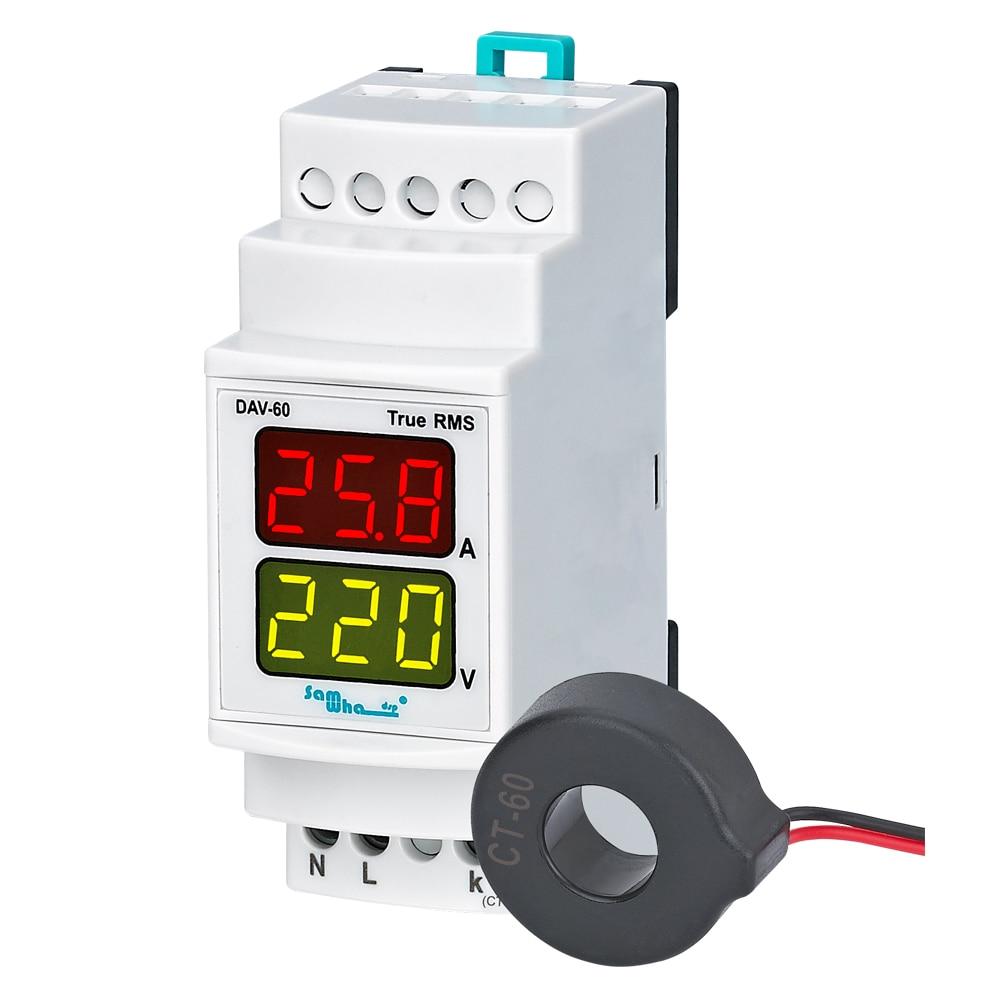 Samwha-dsp DAV-60/100/250 amperímetro digital & voltímetro com c.t externo