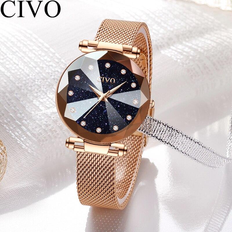 Image 5 - CIVO Fashion Luxury Ladies Crystal Watch Waterproof Rose Gold Steel Mesh Quartz Women Watches Top Brand Clock Relogio FemininoWomens Watches   -