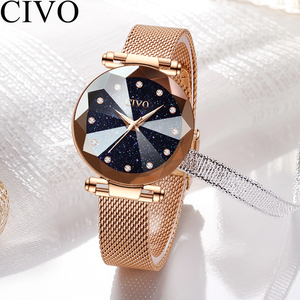 Image 5 - CIVO Fashion Luxury Ladies Crystal Watch Waterproof Rose Gold Steel Mesh Quartz Women Watches Top Brand Clock Relogio Feminino